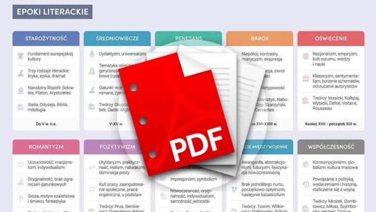 Wszystkie epoki literackie matura notatki PDF